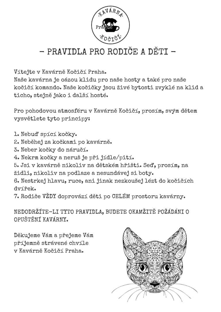 Pravidla pro rodiče a děti kavárna kočičí